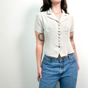 Vintage Grey Short Sleeve Collared Button Up Shirt